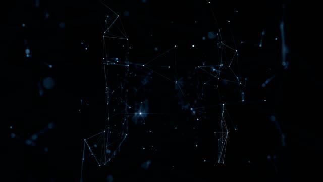 vídeos y material grabado en eventos de stock de resumen red red móvil con luces parpadeantes, volando a través de. bucle de animación en 3d con líneas y desenfoque dof. concepto de información y tecnología digital. - plexo