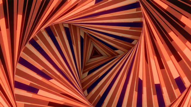 sfondo artistico ottico astratto. linee geometriche a forma di triangolo colorato. animazione digitale senza loop senza soluzione di continuità. rendering 3d. 4k, risoluzione ultra hd - elemento del design video stock e b–roll