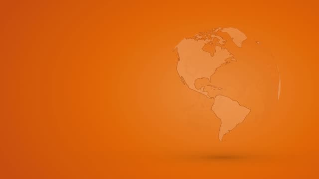 abstract orange globe planet earth with outline - glass world video stock e b–roll