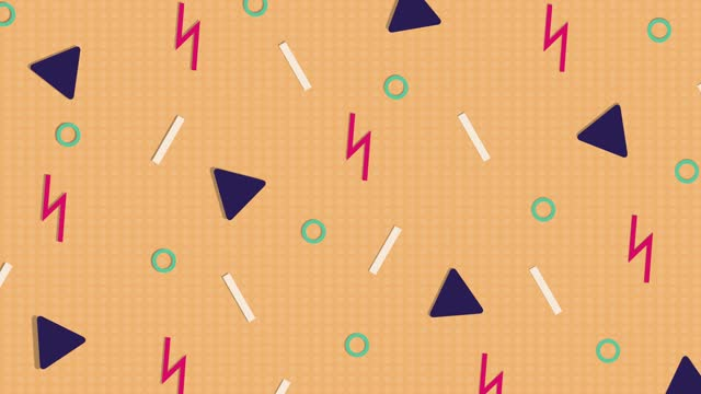 Abstract orange pattern background with triangles, circles, lines and zigzags.