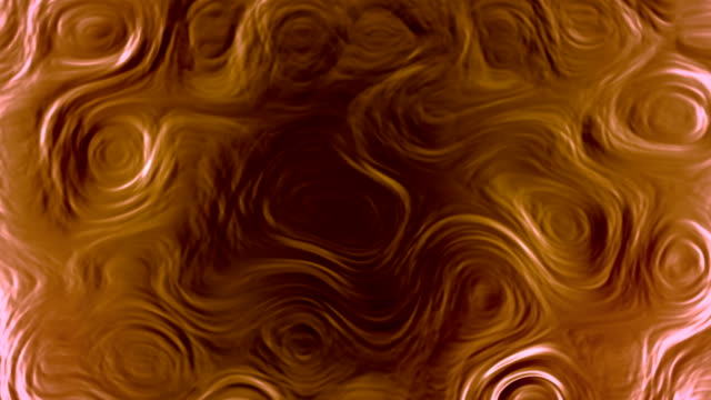 Abstract orange shiny metallic surface with wavy curved pattern. 3d rendering. 4k UHD