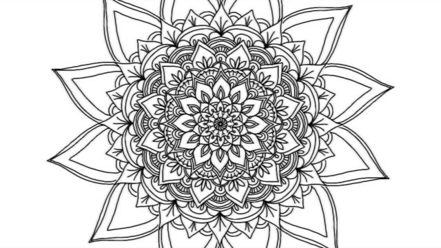 vídeos de stock e filmes b-roll de abstract ornamental digital hand drawn mandala footage. floral vintage tattoo decorative elements oriental islam pattern - mandala