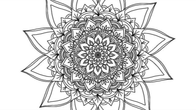 stockvideo's en b-roll-footage met abstracte versiering digitale hand getekend mandala beeldmateriaal. floral vintage tattoo decoratieve elementen oosterse islam patroon - mandala