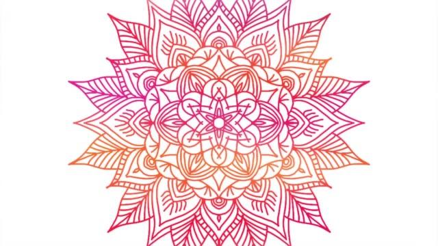 abstract ornamental digital hand drawn mandala footage. floral vintage tattoo decorative elements oriental islam pattern - мандала стоковые видео и кадры b-roll