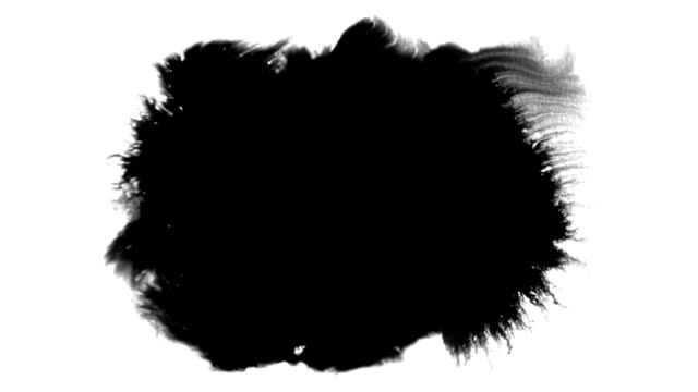 abstract paint brush stroke shape black ink splattering flowing and washing on white background, artistic ink splatter splash - ink splatter stock videos and b-roll footage