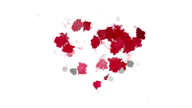 Abstract painting red heart symbol on white background video