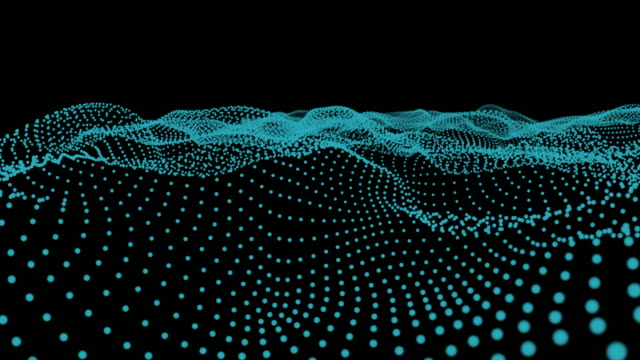 Abstract particle greed wave motion on black background