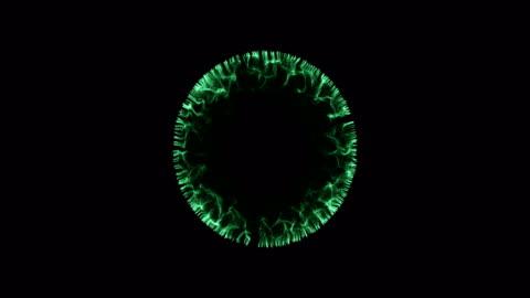 vídeos y material grabado en eventos de stock de concepto de onda partícula abstracta (4 k + alfa) - verde color