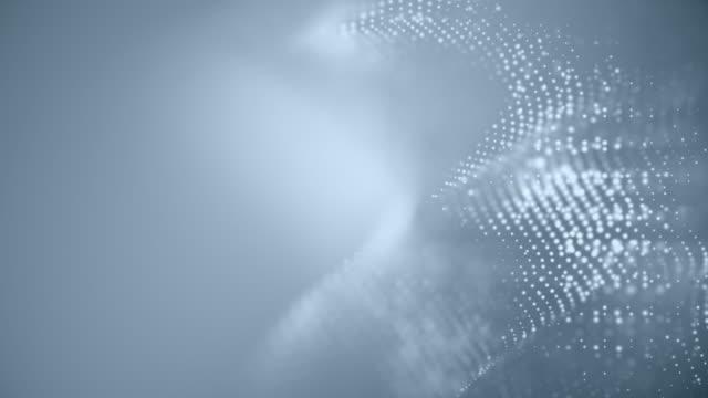 Abstrakte Partikel, die Punkte bewegen, verwischen die Hintergrundschleife. Punkte und Verbindung mit Linien flache Schärfentiefe. Magischer digitaler Raum. Makro aufnahme 3D Animation Bewegungsgrafiken. (Loopable) – Video