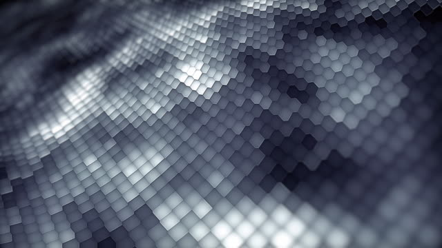 Abstract particles moving dots blur background looping. Dots and connecting with lines shallow depth of field. Magic digital space. Macro shot 3d animation motion graphics. (Loopable)