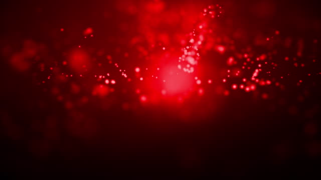 vídeos de stock e filmes b-roll de abstract particles moving dots blur background looping. dots and connecting with lines shallow depth of field. magic digital space. macro shot 3d animation motion graphics. (loopable) - vr red background