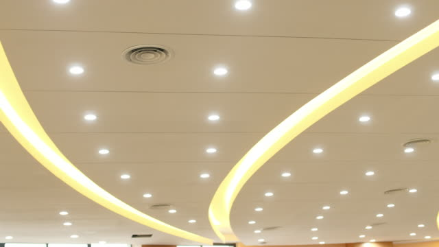 abstract patter ceiling in modern luxury conference hall - soffitto video stock e b–roll