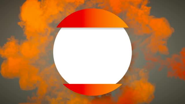 vídeos de stock, filmes e b-roll de padrão abstrato de explosão de onda de choque de cor laranja abre emblema círculo geométrico com canal alfa fosco para colocar seu texto ou logotipo. renderização 3d. resolução hd - distintivo