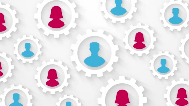 Abstract People Silhouette In Cogwheels Social Network Concept Loop Animation Stock Video Download Video Clip Now Istock