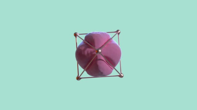 abstract pink sphere gold frame spinning green/blue scene 3d rendering - un singolo oggetto video stock e b–roll