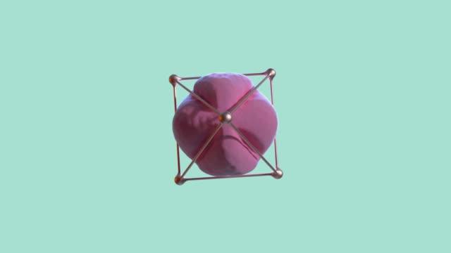 vidéos et rushes de abstrait rose sphère or cadre toupie vert/bleu scène 3d rendu - un seul objet