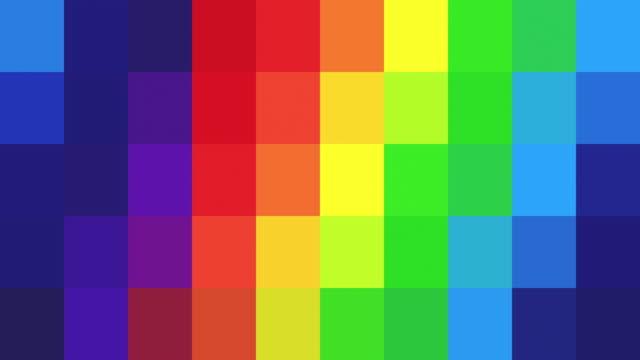 gökkuşağı renkli pixelated arka plan - soyut - mozaik stok videoları ve detay görüntü çekimi