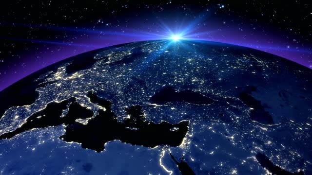 vídeos de stock, filmes e b-roll de abstrato azul circulares planeta terra - país área geográfica