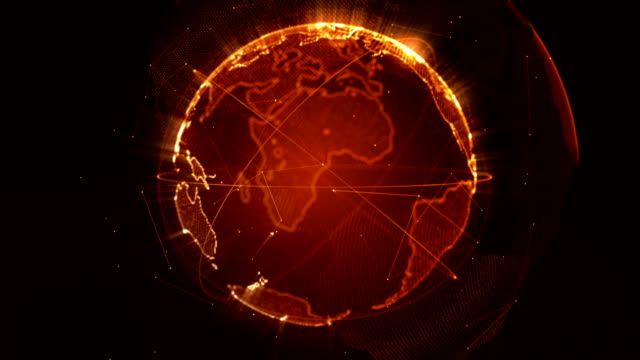 Abstract Planet earth loopable orange video