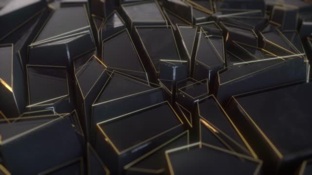 Abstract polygonal background metal black animation 4k
