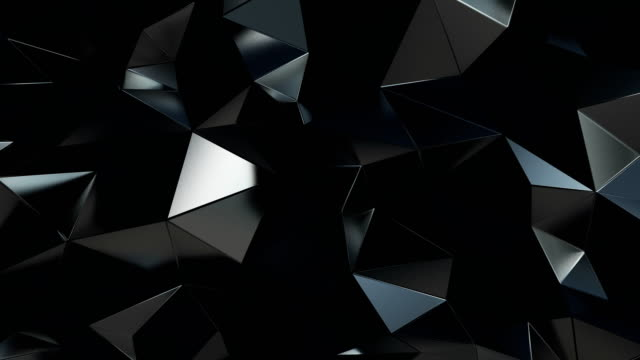 abstract polygonal background metal black animation 4k - tridimensionale video stock e b–roll