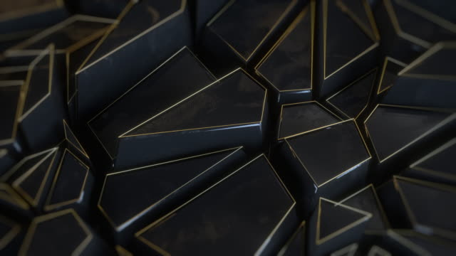 抽象的な多角形の背景メタルブラックアニメーション - 尖っている点の映像素材/bロール