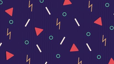 abstrakte purplre-muster-hintergrund mit dreiecken, kreisen, linien und zickzack. - computergrafiken stock-videos und b-roll-filmmaterial