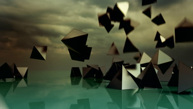 Abstract pyramids falling from sky. video