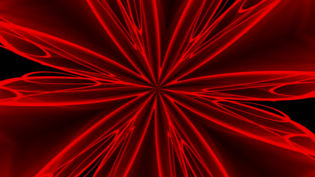 Abstract red background. Digital kaleidoscope. 3d rendering video