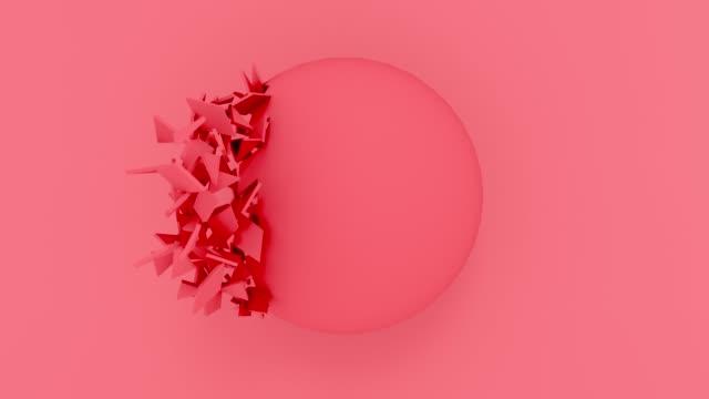 vídeos de stock, filmes e b-roll de explosão vermelha abstrata da esfera no fundo pastel. a animação geométrica do computador das formas 3d rende. gravação de loop 4k. - organic shapes
