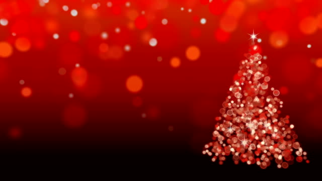 Abstract red Christmas tree background, seamless looping video