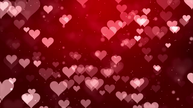 Abstract Red Moving Flying Hearts and Particles Valentine's day Loop background.