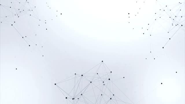 vídeos de stock, filmes e b-roll de resumo poligonal e processamento de linhas de estrutura caótica do plexo esferas conexão. forma futurista. conceito de tecnologia de rede. gráfico de movimento moderno fundo de loop sem costura. - joining the dots