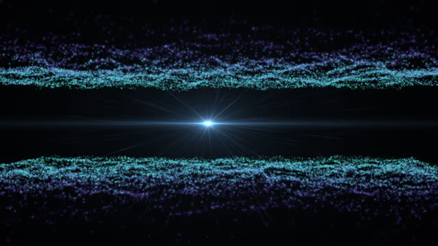 4K Abstract Retro Futuristic Landscape Particles Loopable Technology Background with Lens Flare