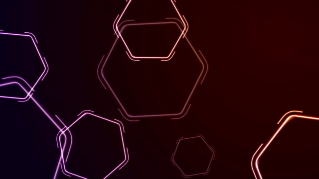 abstract retro neon shiny hexagons motion background - clip art video stock e b–roll