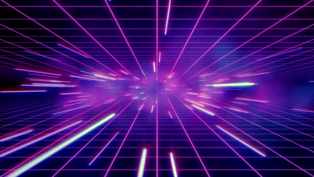 Abstract retro of warp or hyperspace motion in blue purple star trail video