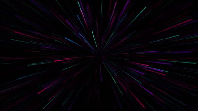 vídeos de stock e filmes b-roll de abstract retro of warp or hyperspace motion in star trail - eternidade