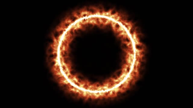 Abstract ring of fire on black background. shiny animation 4K resolution