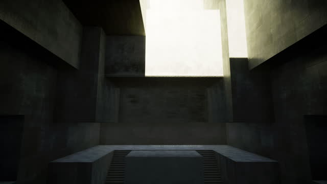 Abstract room with empty cement gray walls, on which the rays of the setting sun slowly fall