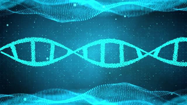 vídeos y material grabado en eventos de stock de adn giratorio abstracto doble hélice 3d animación azul fondo en bucle sin costuras. - cromosoma