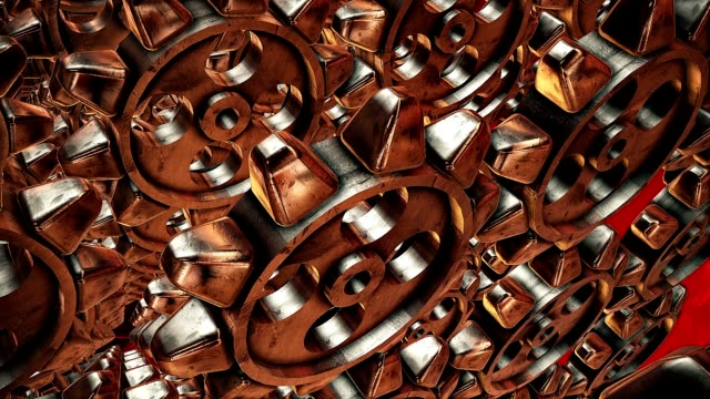 Abstract rotating gears in bronze color video