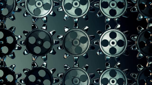 Abstract rotating gears in dark blue color video