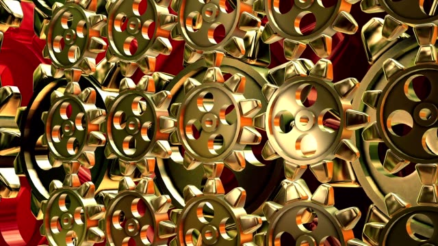 Abstract rotating gears in gold color video