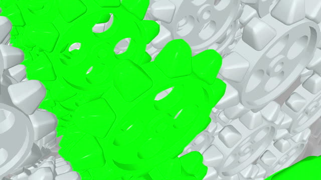 Abstract rotating gears in white and green colors video
