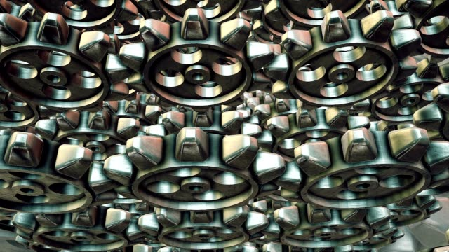 Abstract rotating gears on a grey background video
