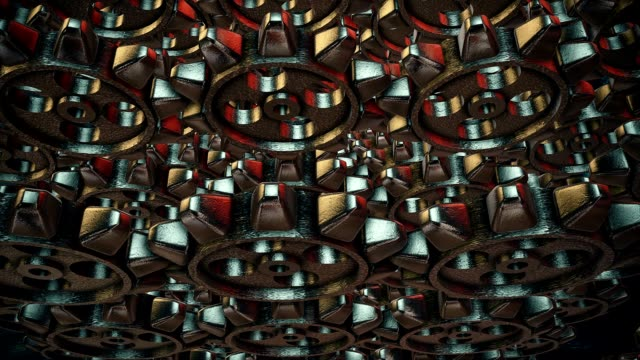 Abstract rotating gears on a red background video