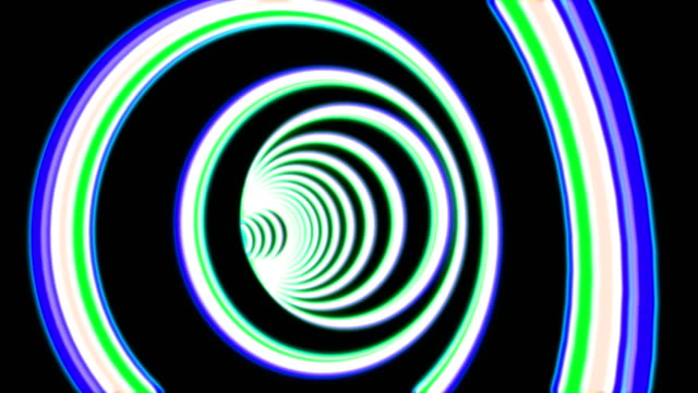 Abstract round tunnel seamless animation. Blue, green and white circles forming deep endless hole. Fluorescent neon lights illuminating long cyberspace portal with bright beams at end