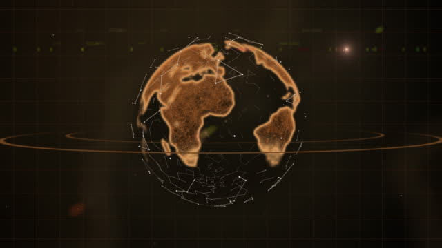 Abstract scientific video background - brown hologram of planet.