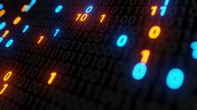 abstrakt sömlös blå och orange digital binär kod matris bakgrund vj loop med flare. - binär kod bildbanksvideor och videomaterial från bakom kulisserna