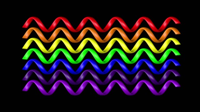 Abstract shapes with rainbow colors isolated on alpha channel video